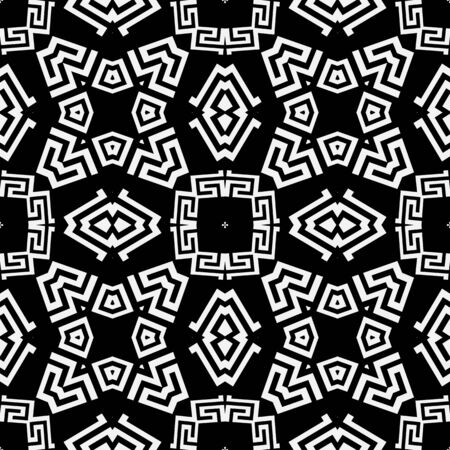 Tribal black and white elegant greek style vector seamless pattern. Ornamental geometric ethnic background. Modern abstract decorative backdrop. Geometric greek key meanders ornament with shapes Ilustracja