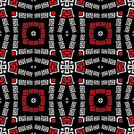 Tribal black white red elegant greek style vector seamless pattern. Ornamental geometric ethnic background. Colorful abstract decorative backdrop. Geometric modern ornate greek key meanders ornament