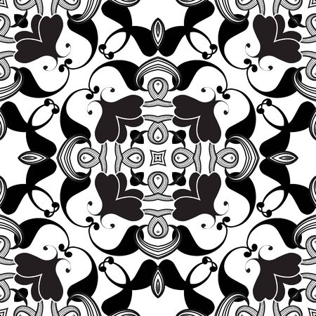 Floral black and white Paisley vector seamless pattern. Drawing ornamental floral backgraund. Ethnic symmetrical paisley flowers ornament. Hand drawn decorative repeat design. Abstract backdrop Ilustracja