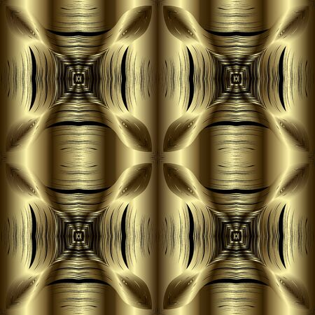Floral textured gold 3d vector seamless pattern. Ornamental surface grunge background. Drapery repeat symmetrical golden backdrop. Decorative flowers design. Floral striped 3d abstract ornaments
