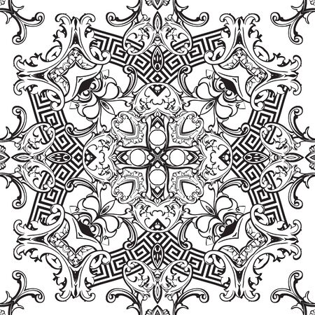 Baroque seamless pattern. Vector black and white vintage background. Repeat isolated design on white. Modern floral ornament in baroque style. Greek key meanders elements. Endless texture. Template