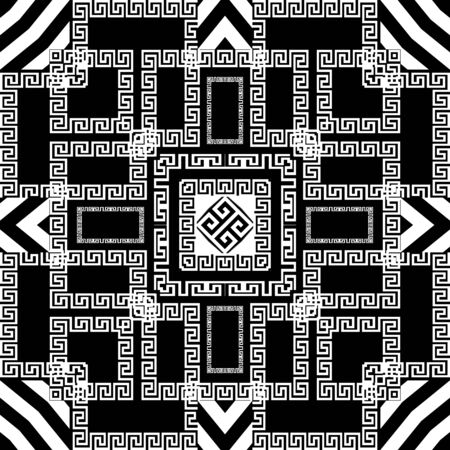 Striped vector seamless pattern. Geometric greek background. Modern abstract greek key meanders ornament with stripes, lines, shapes, zigzag, squares, frames, borders. Repeat geometrical design