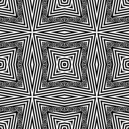 Zigzag striped greek vector seamless pattern. Black and white zig zag stripes background. Greek key meanders elegant ornament. Geometric repeat backdrop. Monochrome ornamental abstract modern design