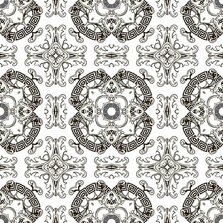 Baroque seamless pattern. Vector black and white vintage background. Repeat isolated design on white. Modern floral ornament in baroque style. Greek key meanders. Circles, frames, flowers, shapes Standard-Bild - 134845733
