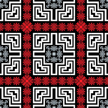 Floral greek vector seamless pattern. Geomeric abstract ornamental background. Greek key meanders ornament with flowers, lines, shapes, borders, frames. Decorative colorful design. Repeat backdrop