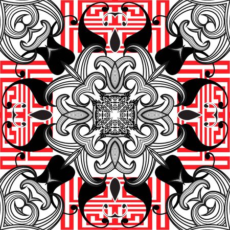 Greek black white red floral vector seamless pattern. Ornamental Paisley background. Geometric greek key meander ornament. Abstract ethnic style paisley flowers, lines, stripes, shapes. Ilustracja