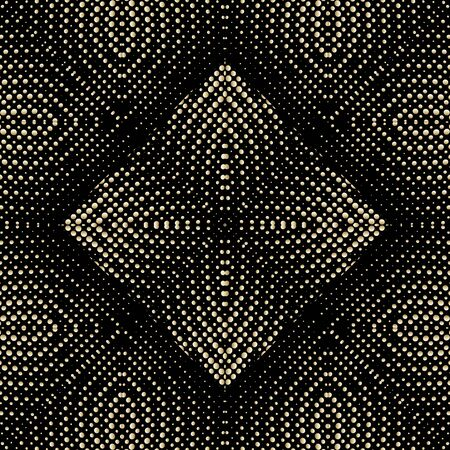 Dotted halftone gold 3d vector seamless pattern. Surface textured geometric background. Repeat ornamental grunge backdrop. Abstract floral ornament with dots, half tone. Symmetrical endless texture