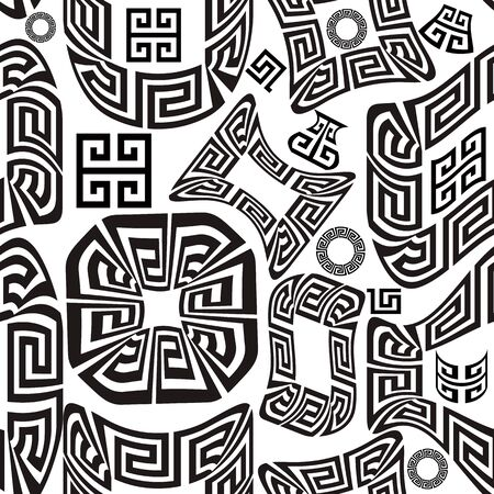Black and white greek vector seamless pattern. Geometric abstract shapes background. Greek key meanders tribal ethnic ornament with geometrical shapes, figures, forms. Ancient style frames, circles