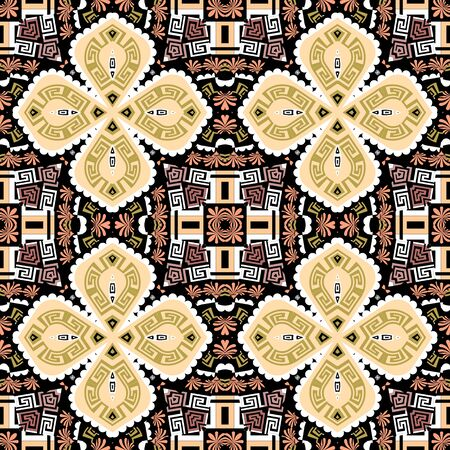 Geometric colorful ethnic style seamless pattern. Greek tribal ornamental background. Abstract repeat geometrical backdrop. Floral greek key meander symmetrical ornament with geometry shapes, flowers