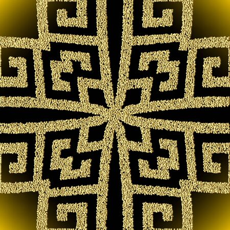 Textured 3d greek geometric gold vector seamless pattern. Stippled ornamental dotted background. Repeat stipples backdrop. Golden surface grunge ornament with abstract shapes, dots, greek key meander Ilustracja
