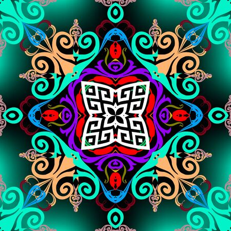 Colorful arabesque style seamless pattern. Greek glowing vector background. Abstract repeat bright backdrop. Floral greek key meanders vintage ornament with geometric shapes, Damask swirl flowers