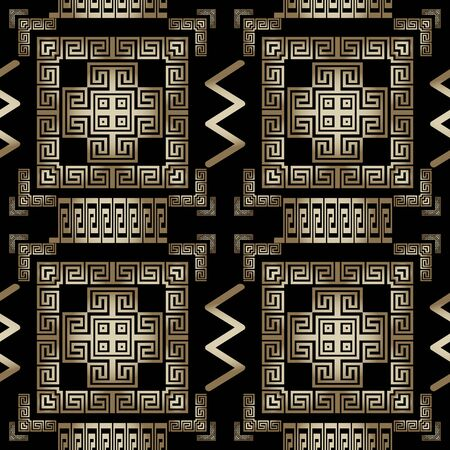 Geometric greek vector 3d seamless pattern. Ornamental ornate background. Geometry repeat tribal backdrop. Greek key meanders ancient gold ornaments with geometrical shapes, squares, zigzag, frames