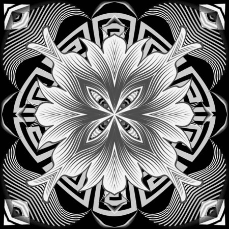 Black and white greek style floral seamless pattern. Vector ornamental monochrome background. Beautiful geometric repeat backdrop. Elegance mandala flowers with ornate greek key meanders ornament Foto de archivo - 134845685