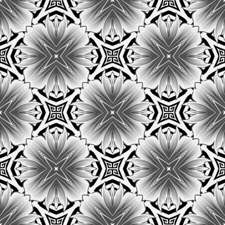 Elegant black and white greek style floral seamless pattern. Vector ornamental monochrome background. Beautiful geometric repeat backdrop. Elegance flowers with ornate greek key meanders ornament Foto de archivo - 134845644