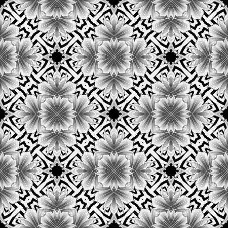 Elegant black and white greek style floral seamless pattern. Vector ornamental monochrome background. Beautiful geometric repeat backdrop. Elegance flowers with ornate greek key meanders ornament Foto de archivo - 134845646