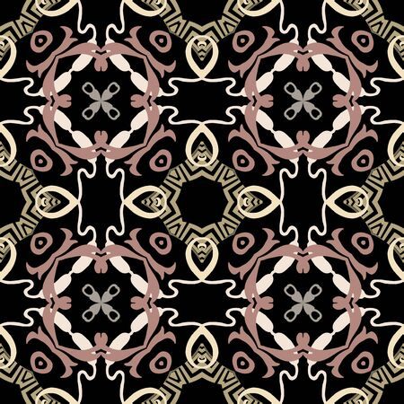 Elegant greek vector seamless pattern. Ornamental floral ethnic style background. Repeat ornate backdrop. Decorative geometric greek key meanders ornament with abstract shapes, lines, flowers Ilustracja