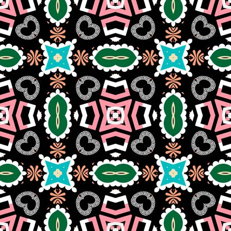 Abstract colorful ethnic style seamless pattern. Greek tribal ornamental background. Geometric repeat geometrical backdrop. Floral greek key meanders ornament with geometry shapes, flowers, lines