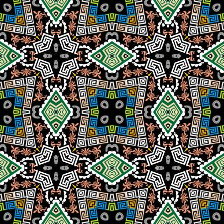 Geometric colorful ethnic style seamless pattern. Greek tribal ornamental background. Abstract repeat geometrical backdrop. Floral greek key meanders ornament with geometry shapes, flowers, frames
