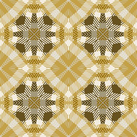 Geometric plaid tatran style vector seamless pattern. Abstract ornamental tribal background. Ethnic repeat geometry backdrop. Striped geometrical ornament with shapes, lines, stripes. Endless texture Ilustracja