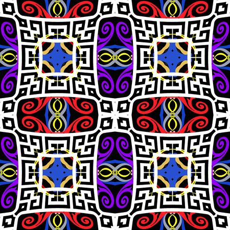 Colorful ethnic style geometric seamless pattern. Greek tribal vector background. Abstract repeat geometrical backdrop. Floral greek key meanders ornament with geometry shapes, flowers, squares