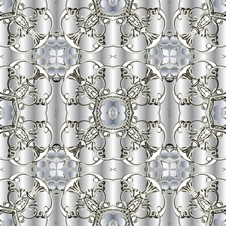 Light ornamental floral vector seamless pattern. White surface drapery background. Repeat silver backdrop. Vintage ornaments with abstract flowers, shapes, lines. Decorative design. Endless texture