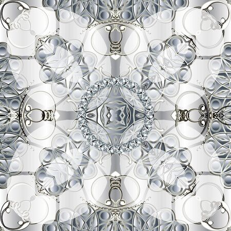 3d white vintage jewelry seamless pattern. Light ornamental vector background. Elegance repeat backdrop. Floral ornament with diamonds, gemstones, flowers, abstract shapes, lines. Beautiful design