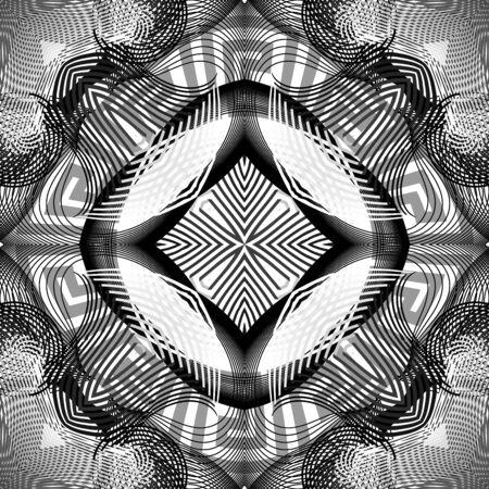 Black and white fractals seamless pattern. Vector ornamental monochrome greek background. Geometric repeat backdrop. Elegant mandala with ornate greek key meanders ornament, lines, stripes, shapes