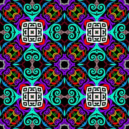 Colorful arabesque style seamless pattern. Greek ethnic vector background. Abstract repeat bright backdrop. Floral greek key meanders vintage ornament with geometric shapes, Damask swirl flowers Ilustracja