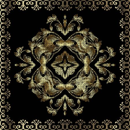 Gold textured 3d tapestry Baroque seamless pattern. Vector embroidered background. Repeat floral backdrop. Vintage embroidery Damask baroque style flowers, leaves. Grunge golden ornament. Square frame Standard-Bild - 134725894