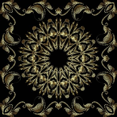 Tapestry gold 3d floral vector mandalas pattern. Leafy textured square frame. Grunge ornamental surface background. Vintage embroidered flowers, leaves. Baroque ornaments. Luxury repeat ornate design Standard-Bild - 134845633