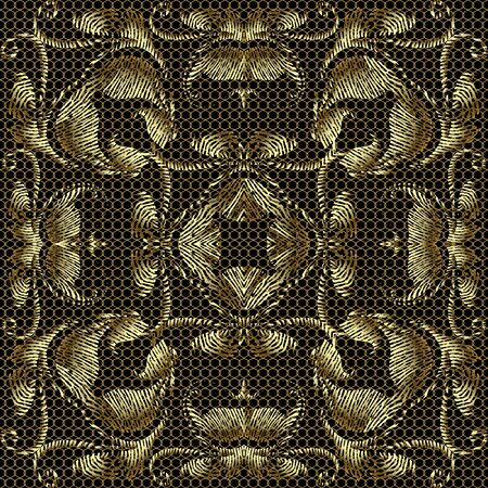 Lace textured gold 3d embroidery Baroque seamless pattern. Lacy ornamental floral vector background. Grid repeat backdrop. Embroidered golden vintage flowers, leaves. Grunge antique surface ornaments Standard-Bild - 134845636