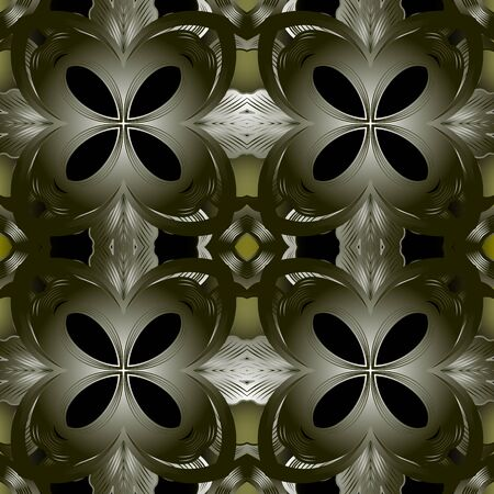 Modern abstract 3d vector seamless pattern. Glowing floral dark green background. Surface ornamental repeat backdrop. Elegant ornament. Decorative ornate design. For wallpapers, fabric, prints
