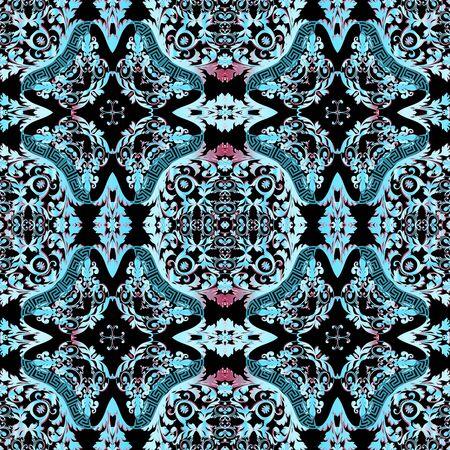 Ornamental beautiful blue greek vector seamless pattern. Abstract floral Damask background. Vintage baroque style patterns. Greek key meanders ethnic ornament. Geometric shapes, flowers, leaves. Standard-Bild - 134728044
