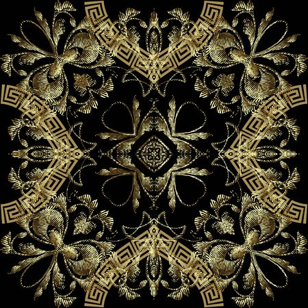 Textured gold 3d greek floral seamless pattern. Vector surface Baroque style background. Vintage embroidery ornate flowers, leaves, shapes. Greek key meanders ornament. Elegant luxury grungy texture. Standard-Bild - 134729788