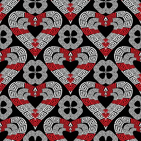 Love hearts modern vector seamless pattern. Greek ornamental black white red background. Beautiful creative repeat backdrop. Abstract geometric design. Floral greek key meanders ornament. Template. Ilustracja