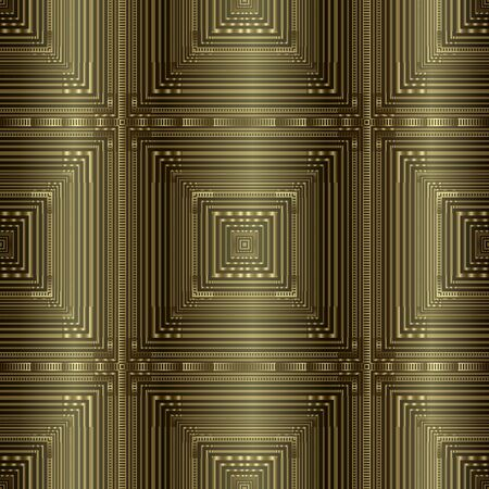 Gold textured 3d striped vector seamless pattern. Abstract geometric checkered background. Repeat modern ornate backdrop. Surface ornament with squares, lines, stripes, radial shapes, borders, frames Ilustracja