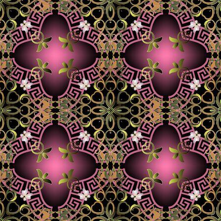 Colorful elegance floral vector seamless pattern. Greek ornamental glowing background. Beautiful vintage flowers, leaves. Greek key meanders. Repeat ornate bright backdrop. Modern abstract ornaments. Ilustracja