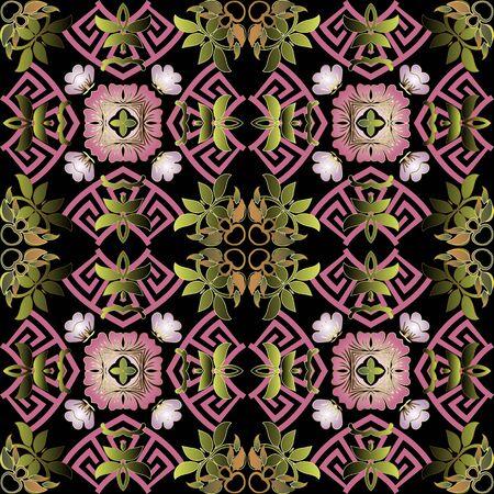 Colorful elegance floral vector seamless pattern. Greek ornamental background. Beautiful vintage pink flowers, leaves, shapes. Greek key meanders. Repeat ornate backdrop. Modern abstract ornaments.