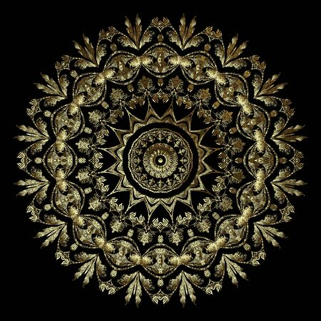 Gold textured 3d tapestry round Baroque mandala pattern. Vector ornamental embroidered background. Repeat floral backdrop. Vintage embroidery Damask baroque style flowers, leaves. Grunge ornaments. Standard-Bild - 134732471