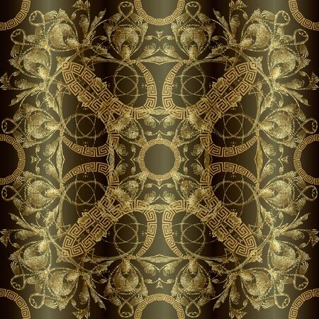 Textured gold 3d greek floral seamless pattern. Vector surface Baroque style background. Vintage embroidery ornate flowers, leaves, shapes. Greek key meanders ornament. Elegant luxury grungy texture. Standard-Bild - 134732474