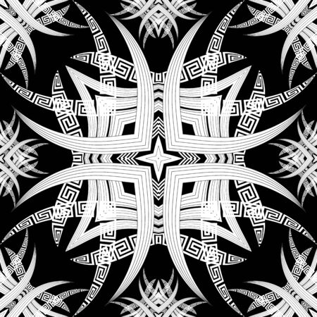 Greek seamless pattern. Black and white abstract floral background. Ethnic style hand drawn flowers, leaves, geometry shapes. Greek key meanders ornament. Beautiful geometric modern vector design.