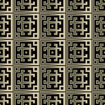 Elegant gold and black greek style vector seamless pattern. Tribal ethnic striped background. Checkered repeat backdrop. Luxury modern golden geometric ornament. Abstract ornate design. Meanders.