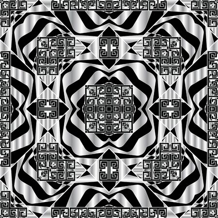 Greek black and white 3d geometric vector seamless pattern. Elegant abstract ornamental background. Repeat ethnic tribal backdrop. Greek key meanders modern ornament with shapes, stripes, wave lines.