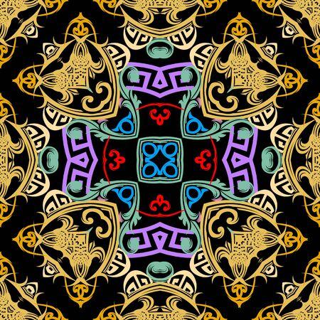 Patrón transparente de vector barroco colorido. Adorno de meandros de llave griega. Fondo de Damasco floral abstracto. Patrones barrocos ornamentados de estilo victoriano brillante vintage. Formas geométricas, elementos. Repetir. Ilustración de vector