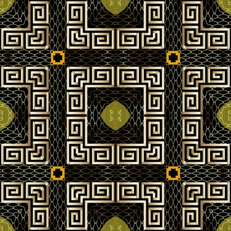 Textured gold 3d greek vector seamless pattern. Greek ornamental golden background. Square greek key meanders frames. Repeat checks backdrop. Luxury squares ornament. Geometric lace grid texture