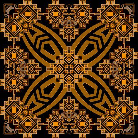 Modello senza cuciture di vettore tribale variopinto geometrico. Sfondo nativo di geometria astratta. Ripeti lo sfondo con motivi. Ornamento di meandri chiave greca tribale. Design moderno decorativo. Forme geometriche