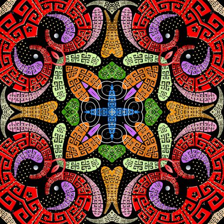 Colorido estilo griego Paisley vector de patrones sin fisuras. Origen étnico floral moderno. Repita el telón de fondo brillante ornamental. Meandros de llave griega adorno dibujado a mano. Flores de Paisley, puntos, remolinos Ilustración de vector