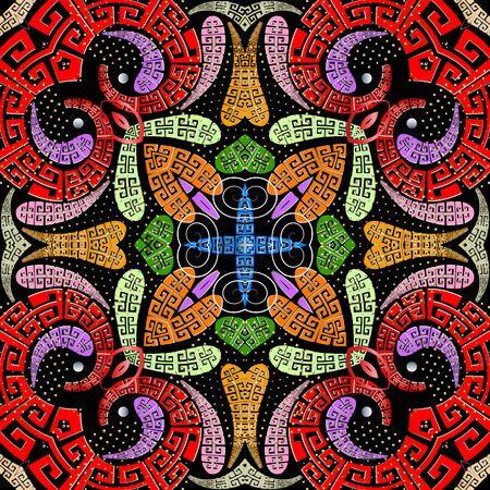 Kleurrijke Griekse stijl Paisley vector naadloze patroon. Moderne bloemen etnische achtergrond. Herhaal decoratieve heldere achtergrond. Griekse sleutel slingert handgetekende ornament. Paisley bloemen, stippen, swirls Vector Illustratie