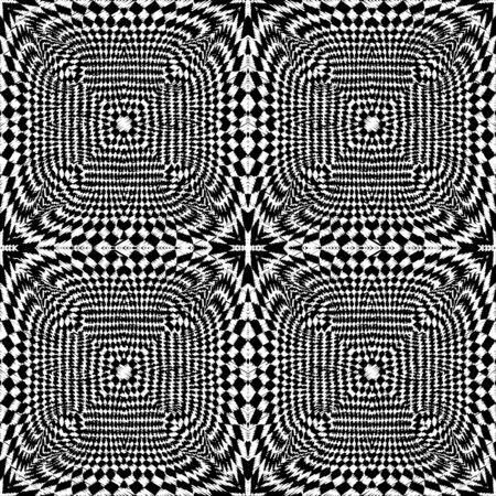 Textured embroidery 3d vector seamless pattern. Tapestry black and white geometric surface background. Embroidered ornament with grunge radial shapes, squares. Optical illusion style modern design