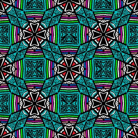 Striped geometric embroidery seamless pattern. Colorful abstract vector background.Textured tapestry ethnic tribal ornament with grunge embroidered flowers, rhombus, shapes, stripes, zigzag lines Иллюстрация